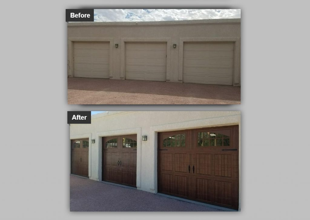 before and after of new garage doors added to 3 car garage