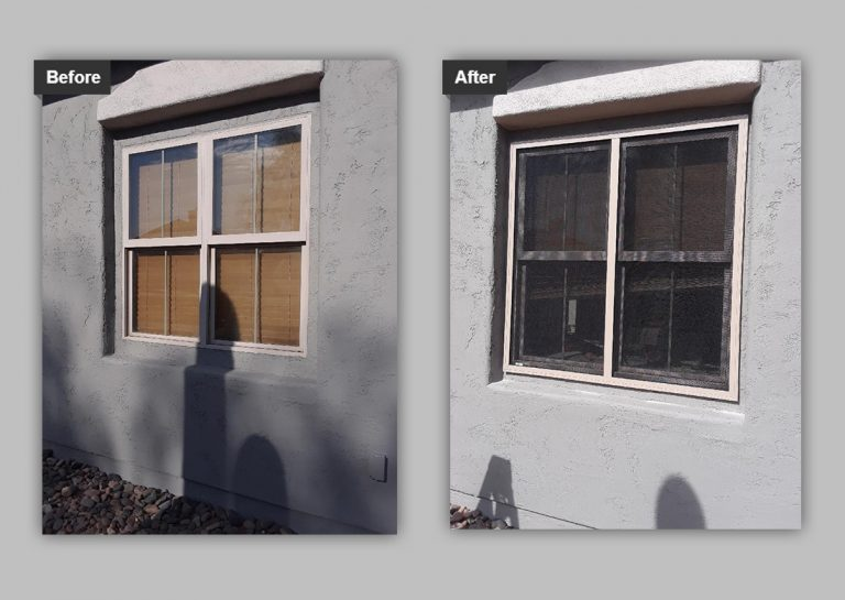 before and after of a home with security screen installation in tucson, az.
