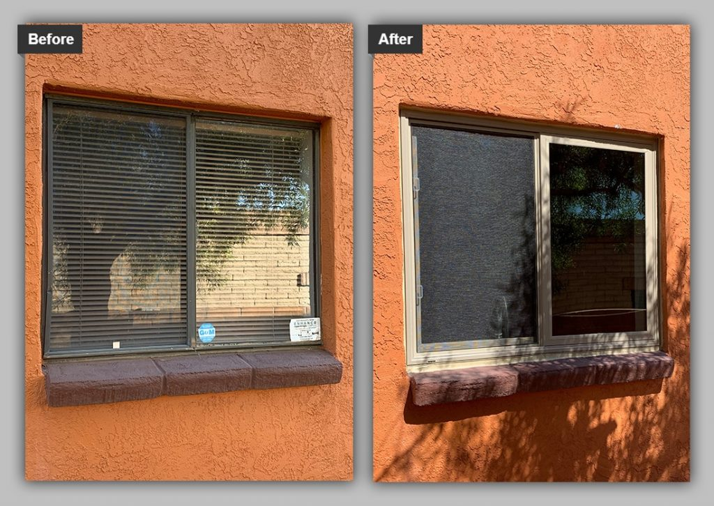 before and after of a security screen installation to a home in tucson, az.